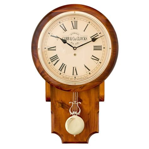 Home Decor Wall Clock by Cobb Amp Co Large Timber Wooden Pendulum Clock Clock Central