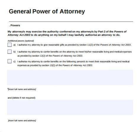 power of attorney template canada toronto 2005