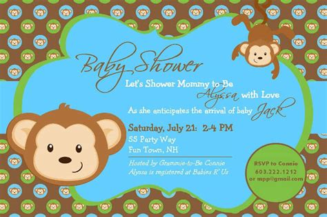 Monkey Themed Baby Shower by Monkey Themed Baby Shower Invitations Card Baby
