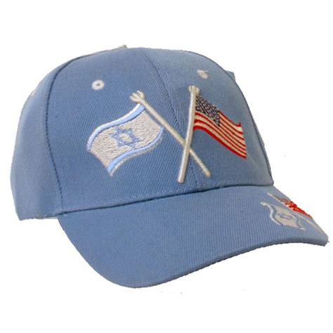 light blue israeli and american flag baseball cap