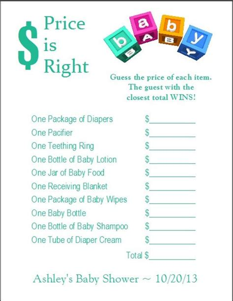 24 Personalized Price Is Right Baby Shower Game Price Is Right Baby Shower Free Template