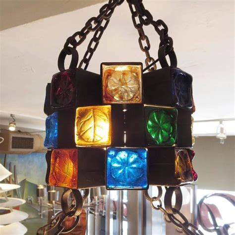 multi colored glass chandelier multi colored glass brutalist chandelier by feder at 1stdibs