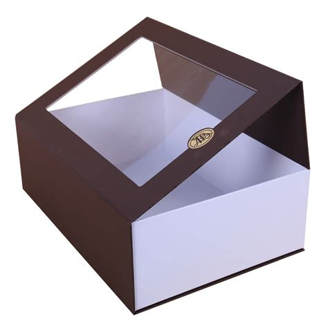 window gift boxes brown magnetic closure gift box with window dhp factory