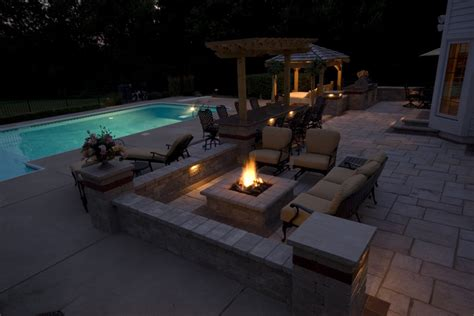 pool fire pit triyae com backyard with pool and firepit various