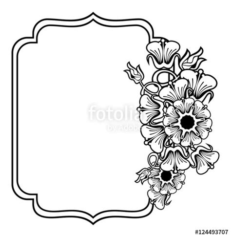 Wedding Flowers Clip Black And White by Quot Vertical Contour Black And White Frame With Abstract