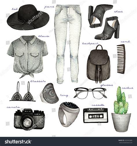 fashion illustration accessories watercolor fashion illustration set trendy accessories illustration libre de droits 432442480