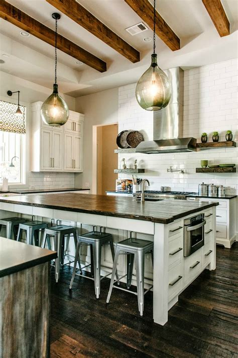 Industrial Farmhouse Kitchen by 44 Reclaimed Wood Rustic Countertop Ideas Decoholic