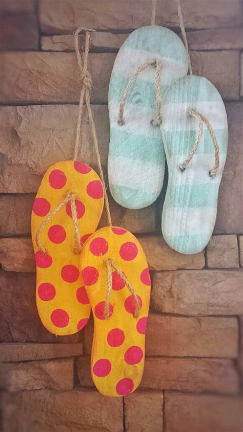 flip flop decor wooden flip flops summer decorations