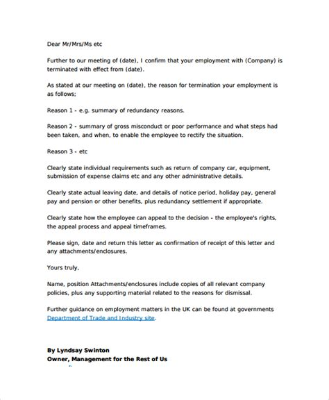 Termination Letter Format For Office Sle Employment Termination Letter 7 Documents In Pdf Word