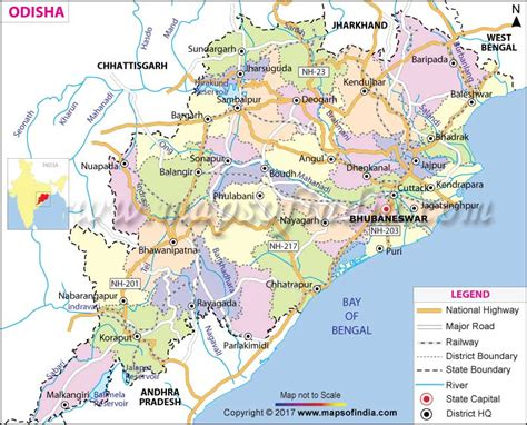 Odisha(Orissa) Map: State, Districts Information and Facts