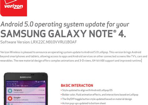 android 5 0 update android 5 0 lollipop update roll out for verizon s samsung galaxy note 4