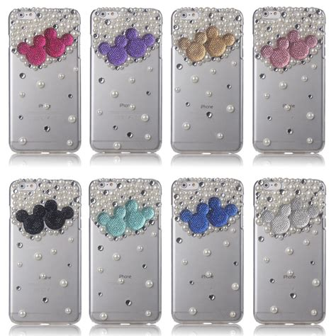 Mickey Bling Back Cover For Iphone 6 Plus 6s Plus 3d bling pearl mickey minnie mouse cover for