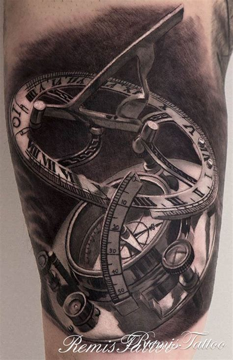 black and grey compass tattoo black white sundial compass tattoo remis tattoo
