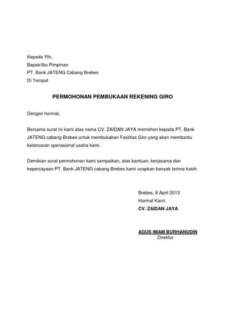 surat permohonan rek giro