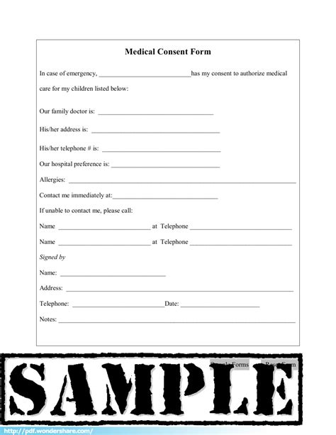 Medical Consent Free Download Create Fill Print Pdf Free Consent Form Template