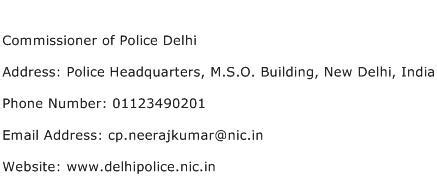 Delhi Address Search Commissioner Of Delhi Address Contact Number Of Commissioner Of Delhi