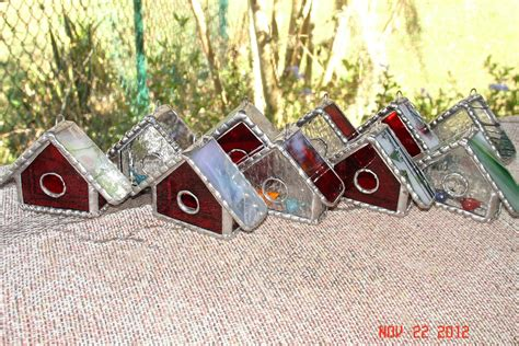 custom made ornaments handmade stained glass bird house ornaments by artistic