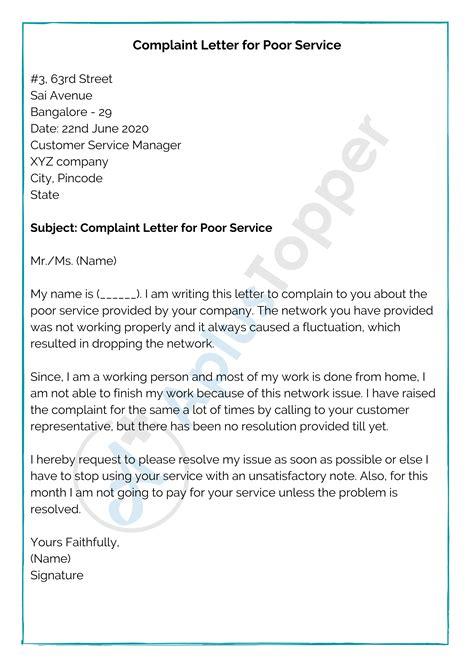 complaint letter format samples write