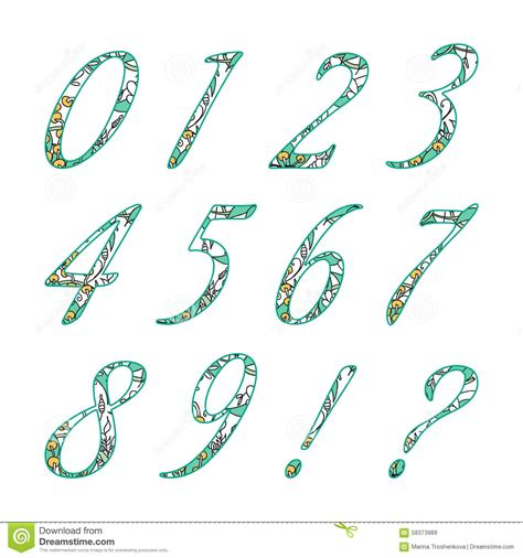 doodle numbers doodle numbers with abstract floral pattern