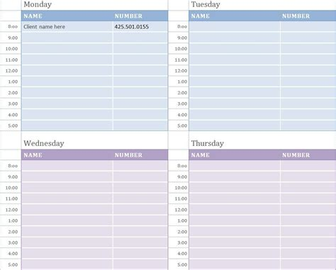 weekly appointment calendar work appointment