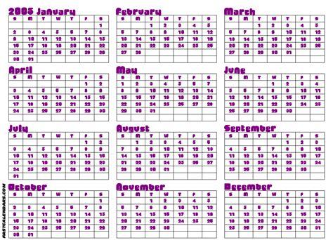Calendar For 2005 Blank 2005 Year Calendar