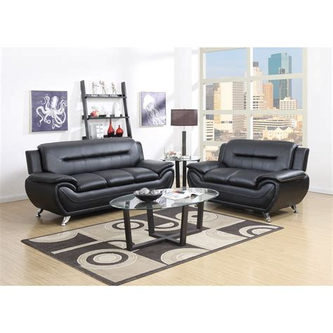gtu furniture contemporary  piece bonded leather sofa