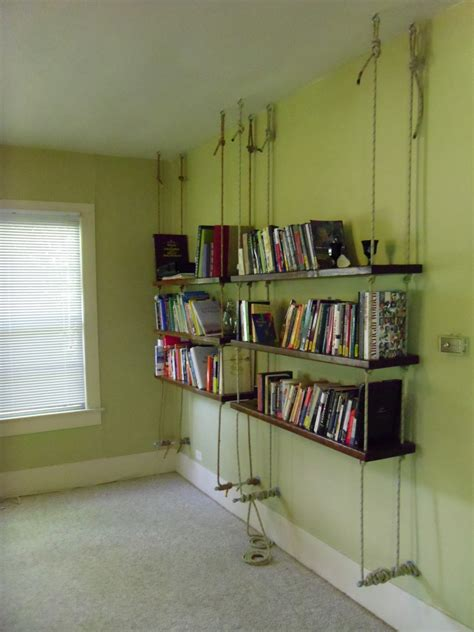 hanging bookshelf unique hanging bookshelves wall that worth to own homesfeed