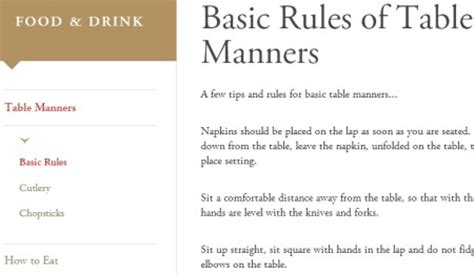 24 basic dining etiquettes 5 free websites to learn table manners and etiquette