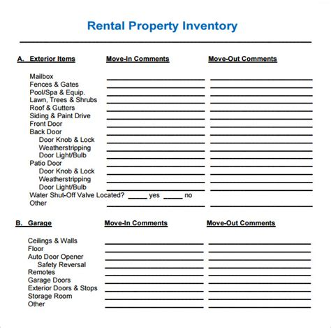 inventory template for rental property tenancy inventory template 7 free documents in pdf
