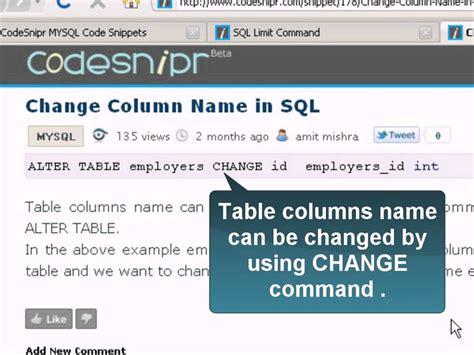Mysql Alter Table Change Column Change Column Name In Sql