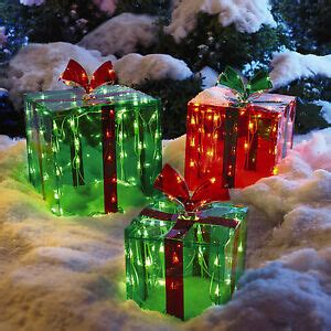 set of 3 lighted glistening prismatic gift box christmas yard art decoration 3 lighted gift boxes decoration yard decor 150 lights indoor outdoor 18717092041 ebay