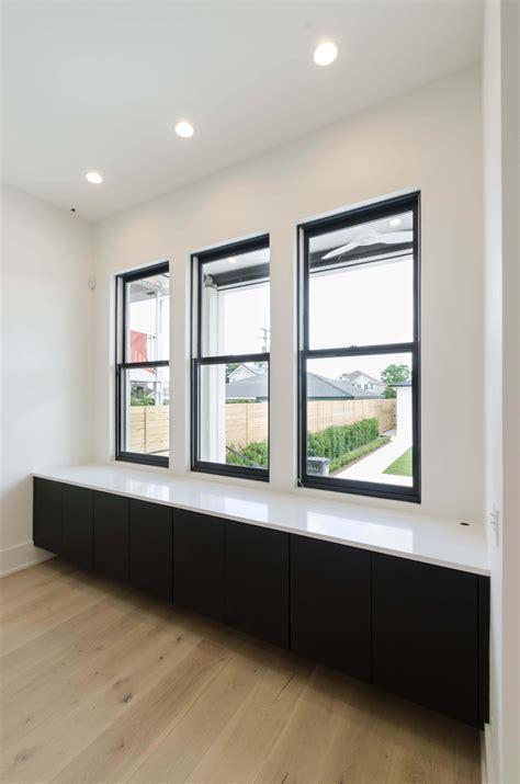 decor black vinyl frame double hung clear glass milgard