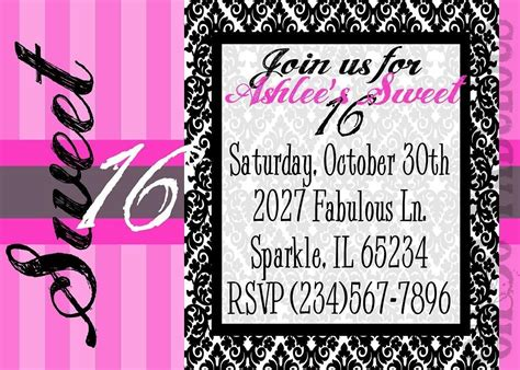 16th birthday card template 16th birthday invitations templates ideas birthday