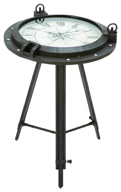 Nautical Side Table Porthole Themed End Table With Nautical Clock Inset Style Side Tables And End Tables