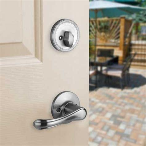 Front Door Lock Set Front Door Entry Set Lock Satin Nickel Lever Vail Ebay