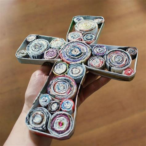 Recycled Magazine Paper Crafts - recycled magazine cross by equi on deviantart