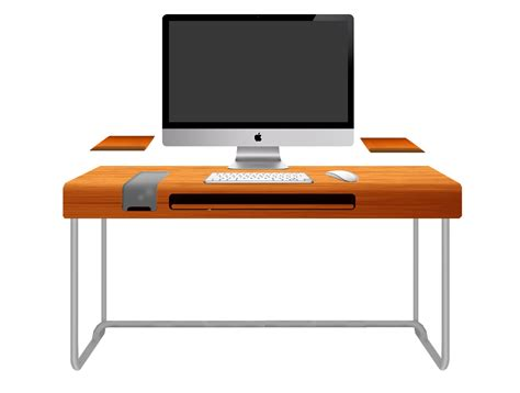 Modern Orange Computer Desk Design With Black Keyboard And Office Computer Desk