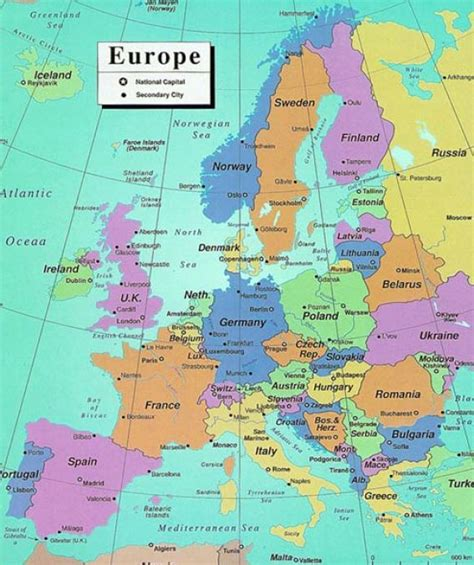 countries of europe in map of european countries and capitals
