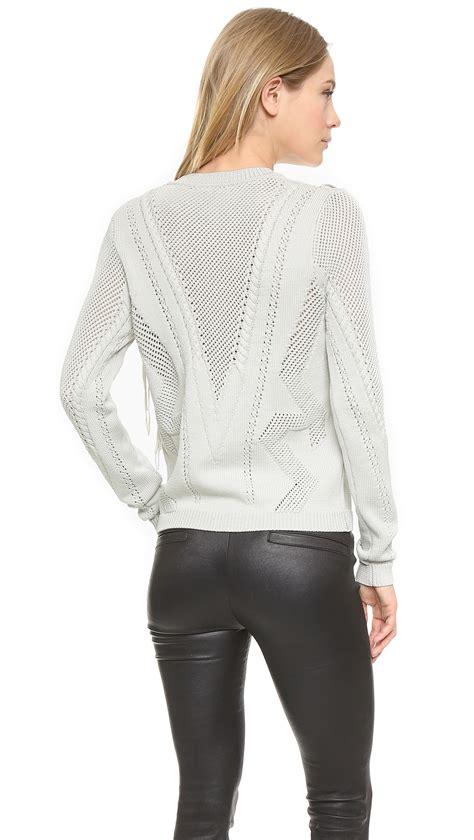 Fringed Hollow Sweater Black White lyst ronny kobo saskia fringe sweater bone in white