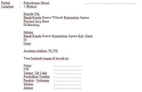 contoh surat permohonan mutasi kerja guru format microsoft