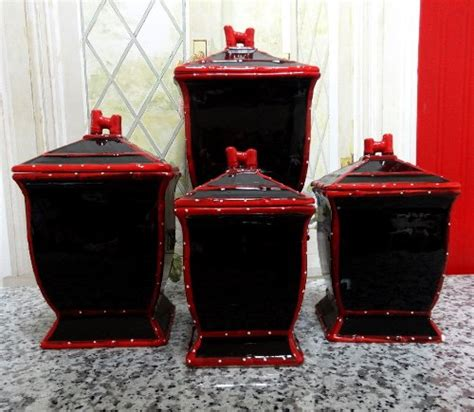 tuscany painted ruffle black canisters set of 4