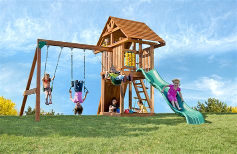 outside swing sets wooden outdoor swing sets for kids circus deluxe