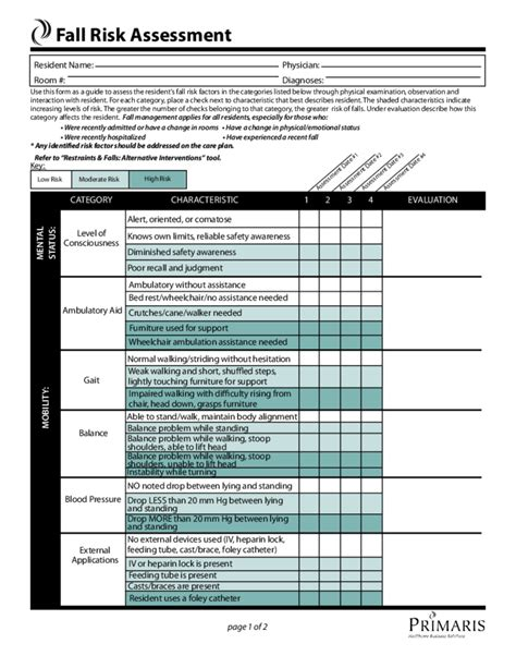 assessment template fall risk assessment template free
