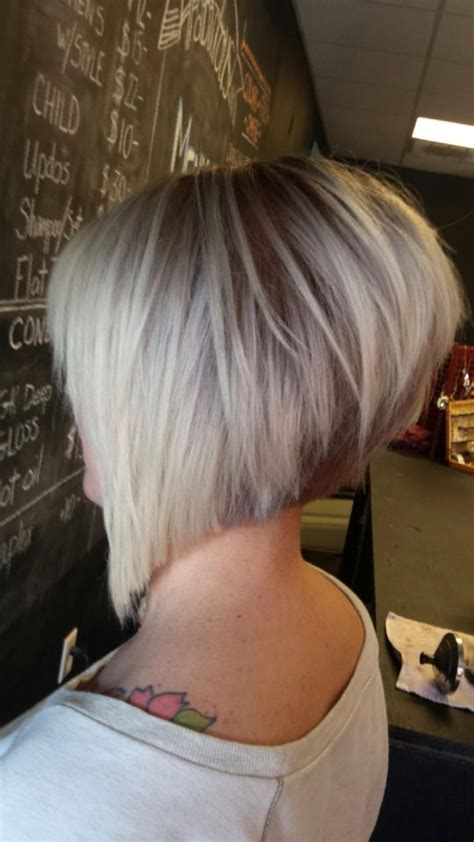 cutting a stacked angled bob asymmetrical haircut short razored cut angled bob hair