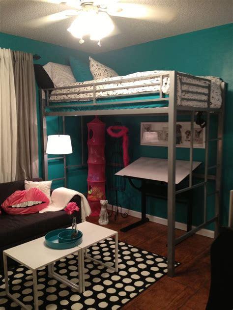 Teen room tween room bedroom idea loft bed black and white teal