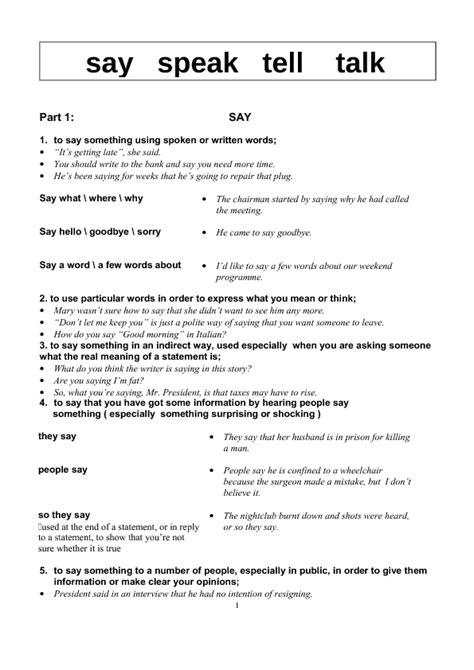 how to say worksheet in 69 free say tell speak talk worksheets