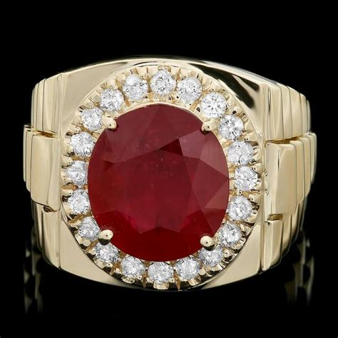 Ruby 5 70 Ct 14k yellow gold 8 00ct ruby 0 70ct mens ring