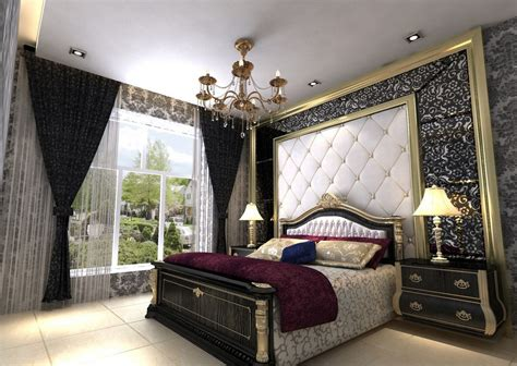 European Bedroom Interior Black Style European Bedroom Interior Decoration 3d