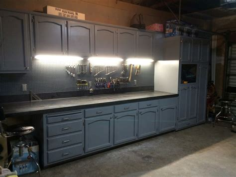 kitchen cabinets in garage refurbished kitchen cabinets for the ultimate work bench