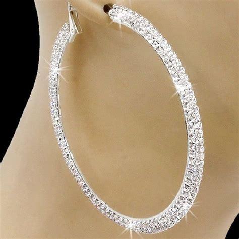 Rhinestone Hoop Earrings 2 75 quot silver gold micro pave set rhinestone cz